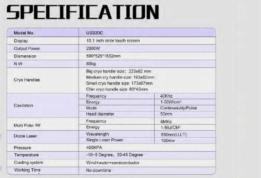 cryotherapy-specifications